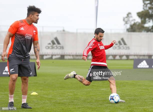 Ignacio Scocco kicks the ball during the New Zealand Rugby Championship Media Day ahead of the match against Argentina at River Plate's training camp...