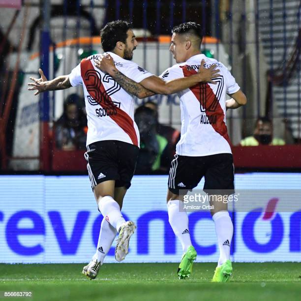 Ignacio Scocco of River Plate celebrates after scoring the first goal of his team during a match between Tigre and River Plate as part of Superliga...