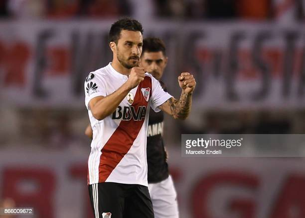 Ignacio Scocco of River Plate celebrates after scoring the first goal of his team during a first leg match between River Plate and Lanus as part of...