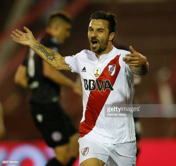 Ignacio Scocco of River Plate celebrates after scoring the first goal of his team during a second leg match between Lanus and River Plate as part of...