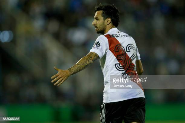 Ignacio Scocco of River Plate celebrates after scoring the first goal of his team during a match between Gimnasia y Esgrima La Plata and River Plate...