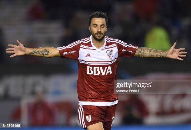 Ignacio Scocco of River Plate celebrates after scoring the third goal of his team during a match between River Plate and Banfield as part of...