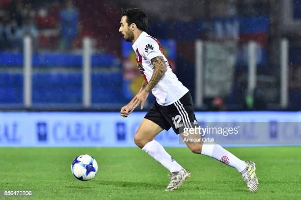 Ignacio Scocco of River Plate drives the ball during a match between Tigre and River Plate as part of Superliga 2017/18 at Jose Dellagiovanna Stadium...