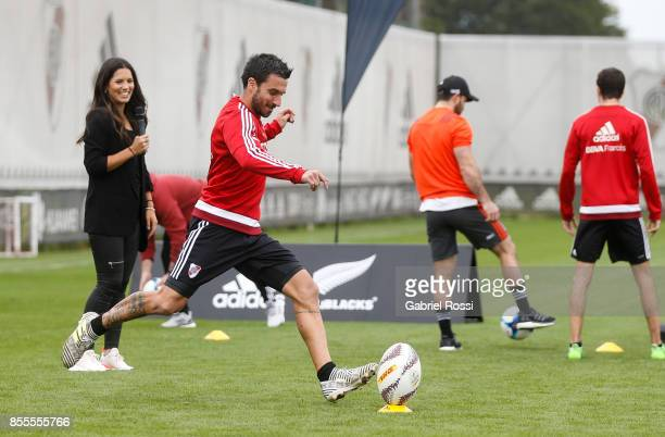Ignacio Scocco of River Plate kicks a rugby ball during the New Zealand Rugby Championship Media Day ahead of the match against Argentina at River...