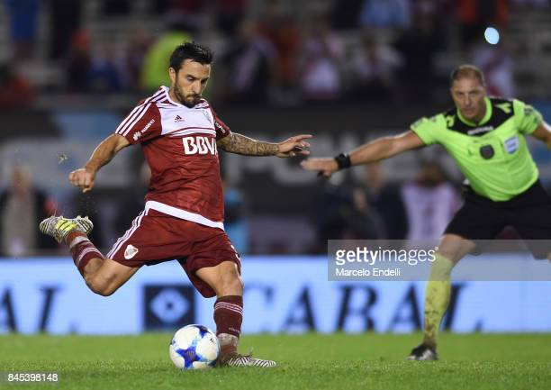 Ignacio Scocco of River Plate takes a penalty kick during a match between River Plate and Banfield as part of Superliga 2017/18 at Monumental Stadium...