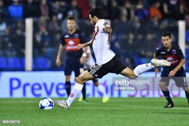 Ignacio Scocco of River Plate takes a penalty kick during a match between Tigre and River Plate as part of Superliga 2017/18 at Jose Dellagiovanna...