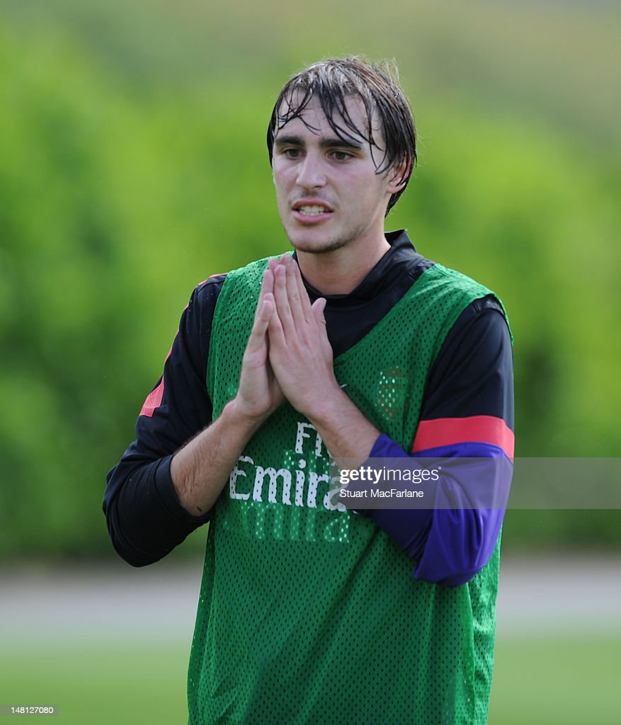 <a gi-track='captionPersonalityLinkClicked' href=/galleries/search?phrase=Ignasi+Miquel&family=editorial&specificpeople=7446487 ng-click='$event.stopPropagation()'>Ignasi Miquel</a> of Arsenal during a training session at London Colney on July 10, 2012 in St Albans, England.