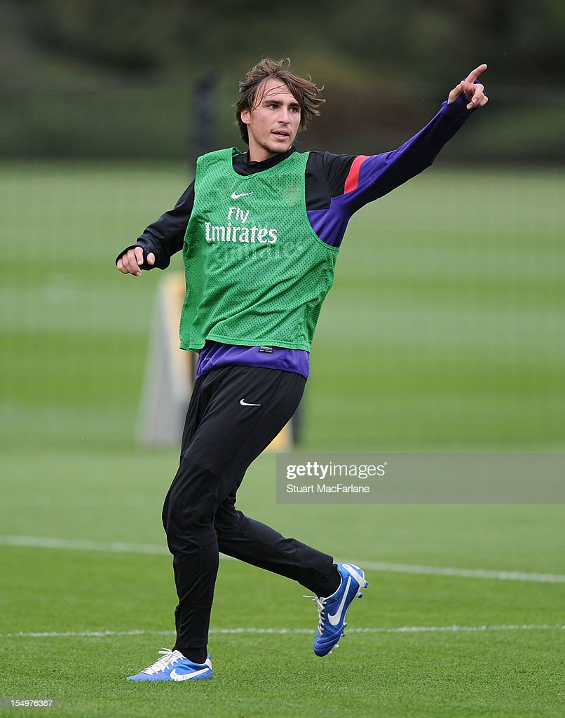 Ignasi Miquel of Arsenal during a training session at London Colney on October 29, 2012 in St Albans, England.
