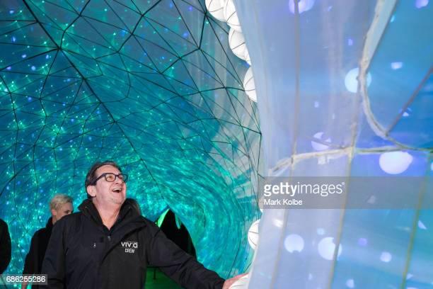 Ignatius Jones poses inside pose inside PJ the 20 metre walkthrough Port Jackson Shark installation one of the giant illuminated animal sculptures on...