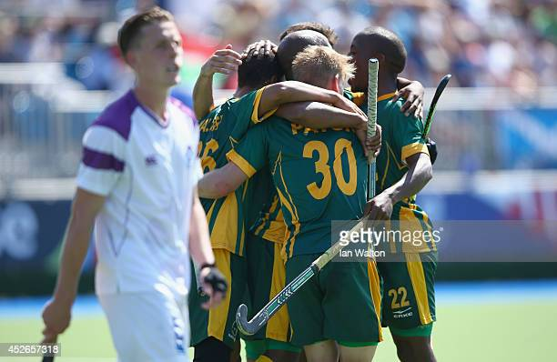 Ignatuis Malgraff of South Africa celebrates scoring the 2nd goal during the Mens Hockey match between South Africa and Scotland at Glasgow National...
