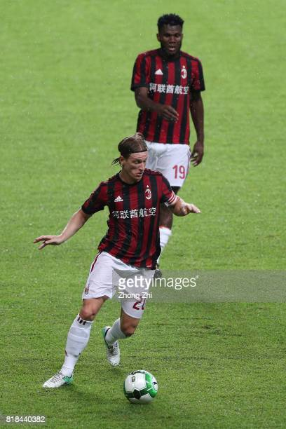 Ignazio Abate of AC Milan in action with Franck Kessie of AC Milan during the 2017 International Champions Cup football match between AC Milan and...