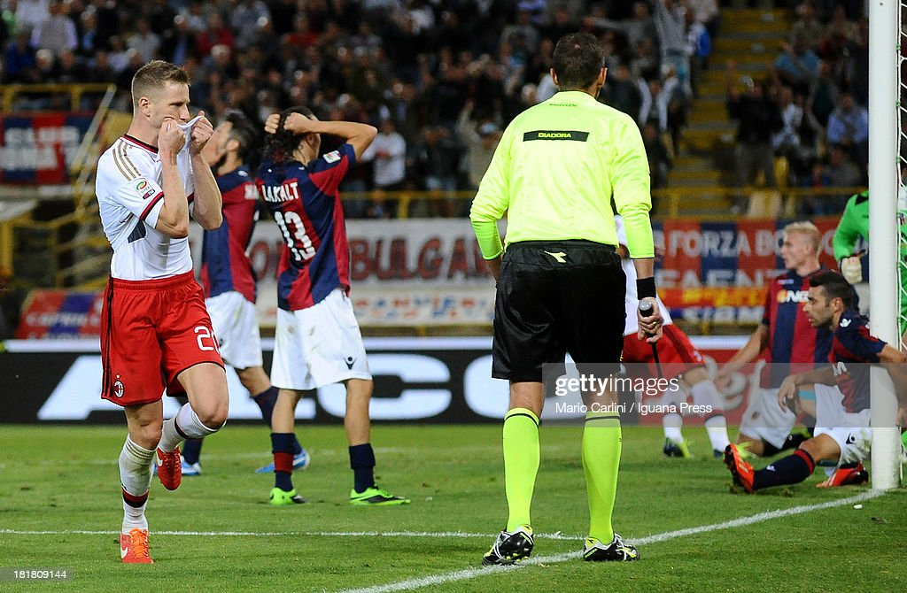 Ignazio Abtae # 20 of AC Milan celebrates after scoring his team's third goal during the Serie A match between Bologna and AC Milan at Stadio Renato Dall'Ara on September 25, 2013 in Bologna, Italy.