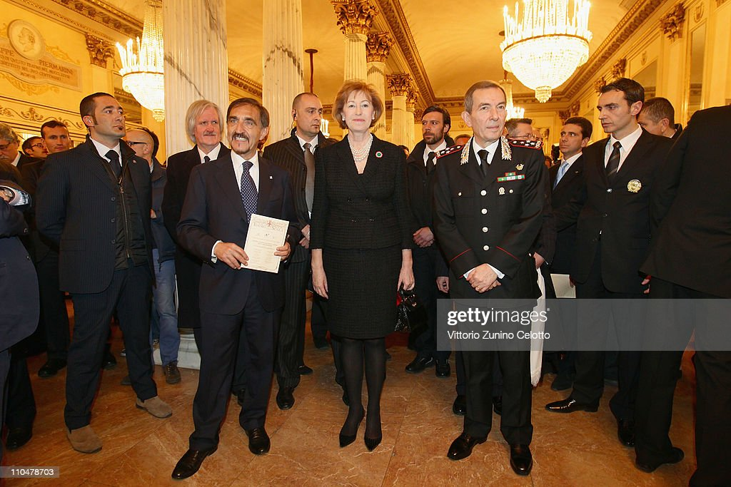 Ignazio La Russa, Letizia Moratti, Leonardo Gallitelli attend the concert of the band of the Italian special police Carabineri at the Teatro alla Scala on March 19, 2011 in Milan, Italy. Events in various Italian cities will celebrate the 150th anniversary of Italy's unification until the end of the year.