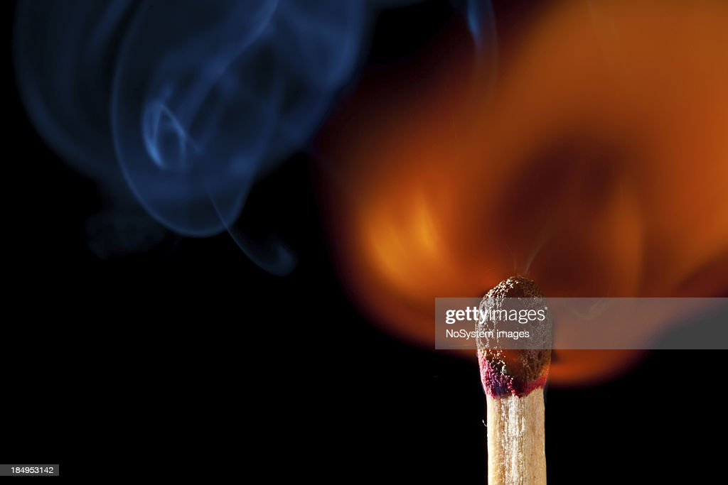'Ignition of match, with little smoke on black'