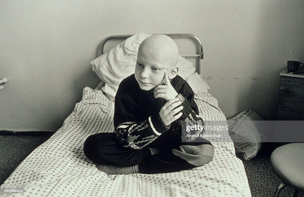 Igor aged 10 in the Borovliany hospital suffering from leukaemia   Location BOROVLIANY Byelorussia ex Soviet Union