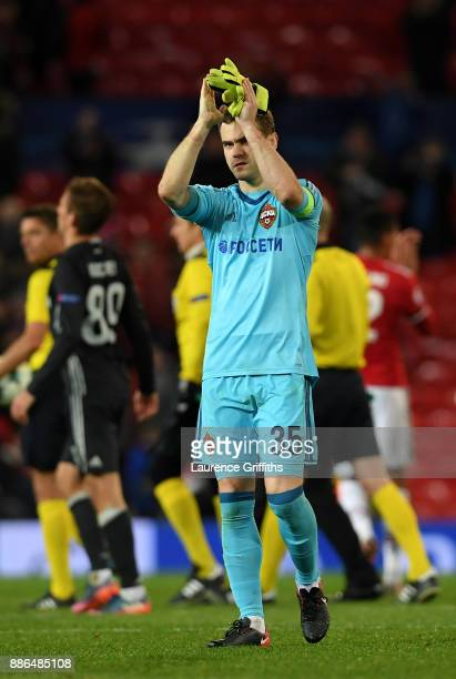 Igor Akinfeev of CSKA Moscow claps the fans after the UEFA Champions League group A match between Manchester United and CSKA Moskva at Old Trafford...