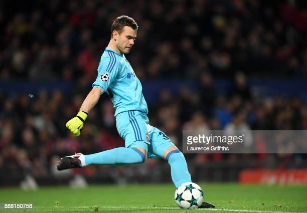 Igor Akinfeev of CSKA Moskva takes a goal kick during the UEFA Champions League group A match between Manchester United and CSKA Moskva at Old...