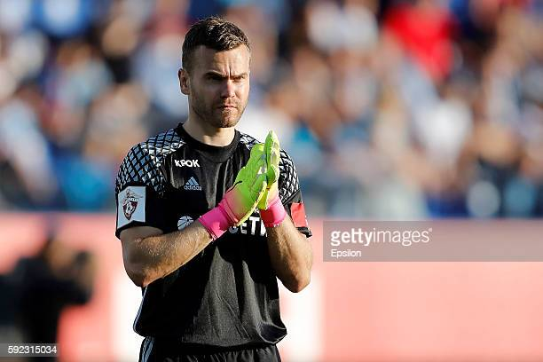 Igor Akinfeev of PFC CSKA Moscow during the Russian Football League match between FC Zenit St Petersburg and PFC CSKA Moscow at Petrovsky stadium on...