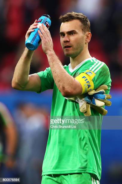 Igor Akinfeev of Russia applauds the supporters following the FIFA Confederations Cup Russia 2017 Group A match between Mexico and Russia at Kazan...
