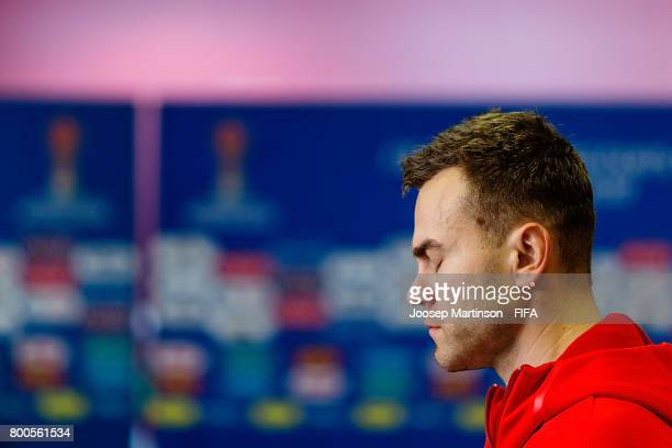 Igor Akinfeev of Russia concentrates prior to the FIFA Confederations Cup Russia 2017 group A football match between Mexico and Russia at Kazan Arena...