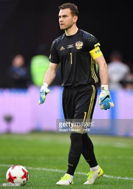 Igor Akinfeev of Russia in action during the FIFA Confederations Cup Group A match between Russia and New Zealand at Saint Petersburg Stadium on June...