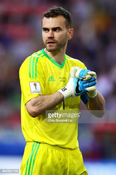 Igor Akinfeev of Russia in action during the FIFA Confederations Cup Russia 2017 Group A match between Russia and Portugal at Spartak Stadium on June...