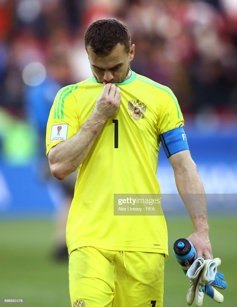 Igor Akinfeev of Russia looks dejected after the FIFA Confederations Cup Russia 2017 Group A match between Russia and Portugal at Spartak Stadium on June 21, 2017 in Moscow, Russia.
