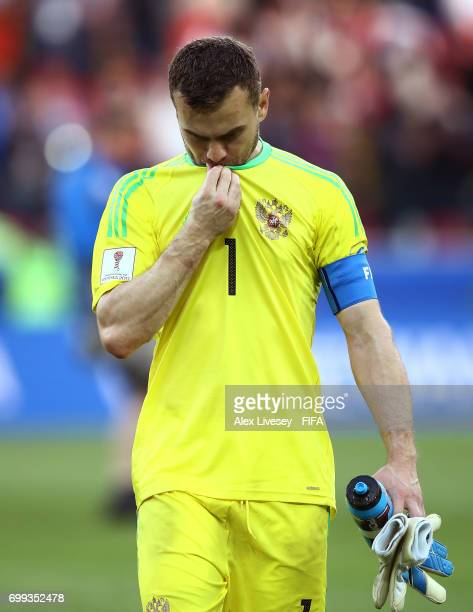 Igor Akinfeev of Russia looks dejected after the FIFA Confederations Cup Russia 2017 Group A match between Russia and Portugal at Spartak Stadium on...
