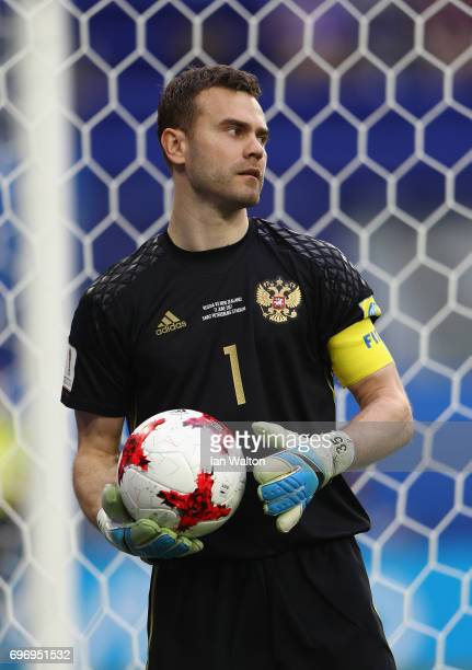 Igor Akinfeev of Russia looks on during the FIFA Confederations Cup Russia 2017 Group A match between Russia and New Zealand at Saint Petersburg...