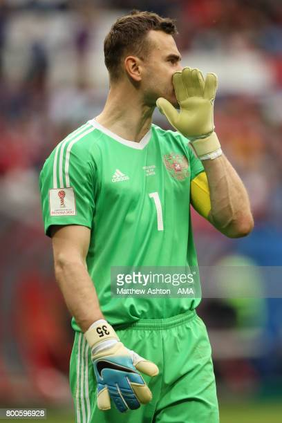 Igor Akinfeev of Russia looks on during the FIFA Confederations Cup Russia 2017 Group A match between Mexico and Russia at Kazan Arena on June 24...