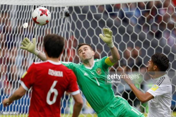 Igor Akinfeev of Russia national team fails to save the ball shot by Nestor Araujo during the Group A FIFA Confederations Cup Russia 2017 match...
