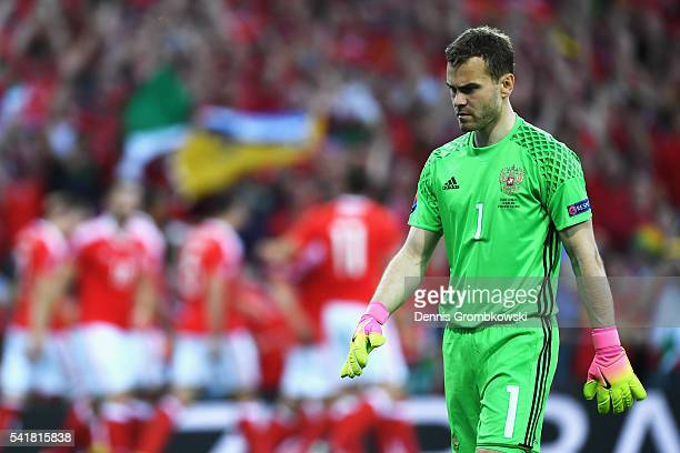 Igor Akinfeev of Russia shows his frustration after Wales's first goal during the UEFA EURO 2016 Group B match between Russia and Wales at Stadium...