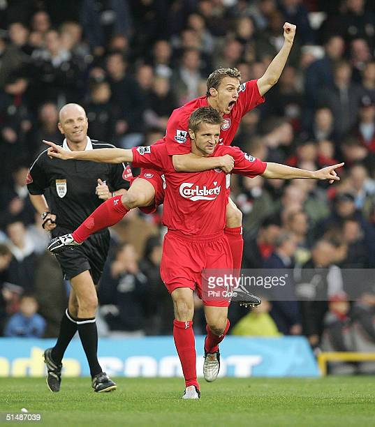 Igor Biscan is congratulated by Stephen Warnock of Liverpool after scoring during the Barclays Premiership match between Fulham and Liverpool at...