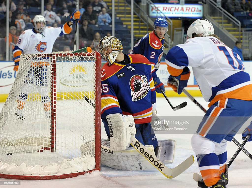 Igor Bobkov #35 of the Norfolk Admirals looks back after allowing a goal to Brock Nelson #29 of the Bridgeport Sound Tigers during an American Hockey League game on February 2, 2013 at the Webster Bank Arena at Harbor Yard in Bridgeport, Connecticut.