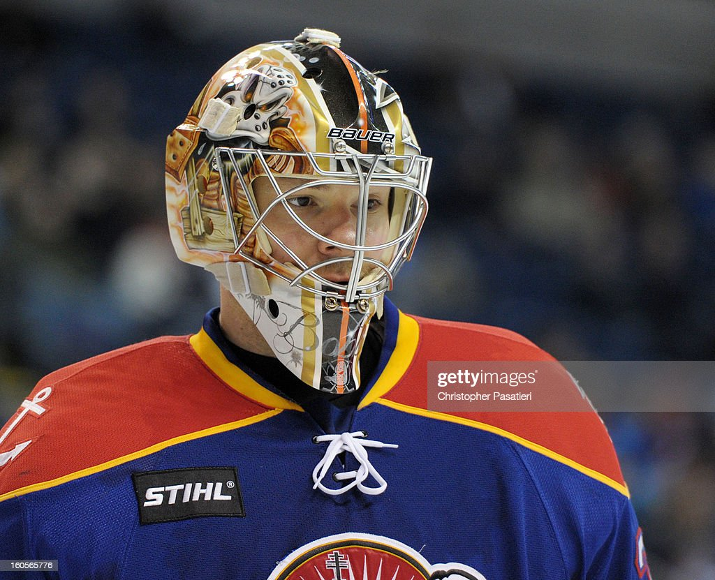 Igor Bobkov of the Norfolk Admirals looks on during an American Hockey League game against the Bridgeport Sound Tigers on February 2 2013 at the...
