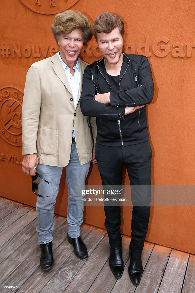 Igor Bogdanoff and his brother Grichka Bogdanoff attend Day Seven of the 2016 French Tennis Open at Roland Garros on May 28, 2016 in Paris, France.