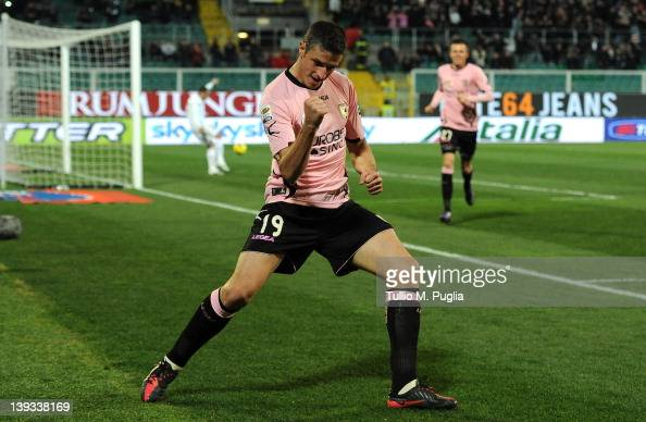 Igor Budan of Palermo celebrates after scoring his team's fourth goal during the Serie A match between US Citta di Palermo and SS Lazio at Stadio...