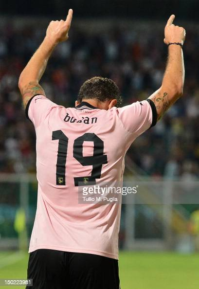 Igor Budan of Palermo celebrates after scoring his team's fourth goal during the preseason friendly match between US Citta di Palermo and Parma FC at...