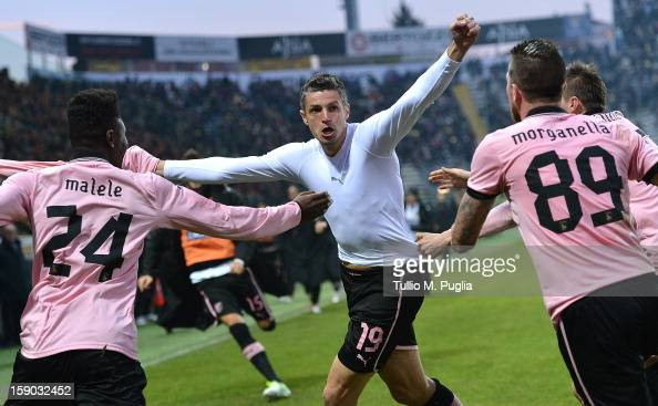 Igor Budan of Palermo celebrates after scoring the equalizing goal during the Serie A match between Parma FC and US Citta di Palermo at Stadio Ennio...