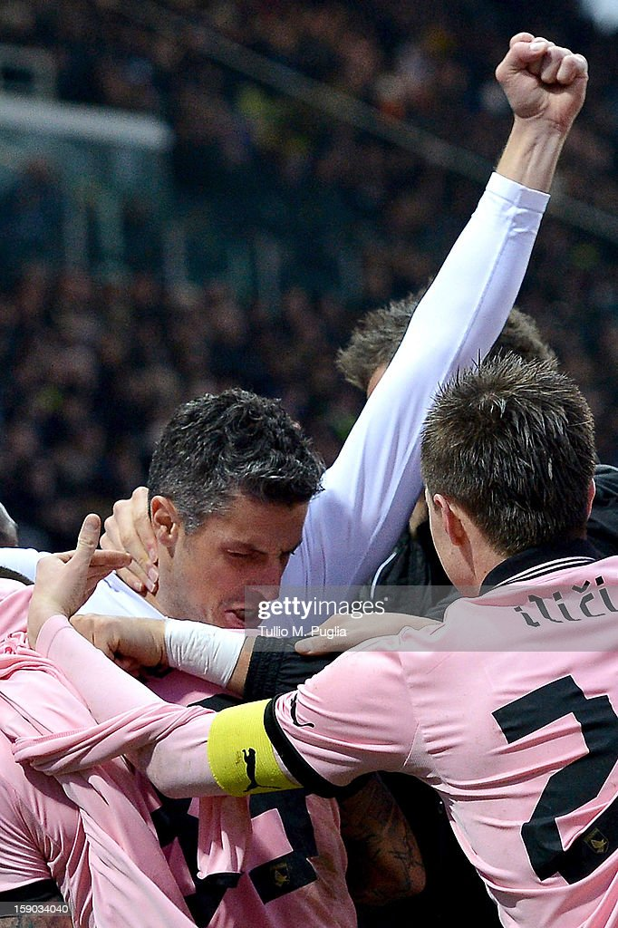 Igor Budan of Palermo celebrates after scoring the equalizing goal during the Serie A match between Parma FC and US Citta di Palermo at Stadio Ennio Tardini on January 6, 2013 in Parma, Italy.