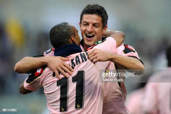 Igor Budan of Palermo celebrates his goal with his team mate Fabio Liverani during the Serie A match between Palermo and Fiorentina at Stadio Renzo...