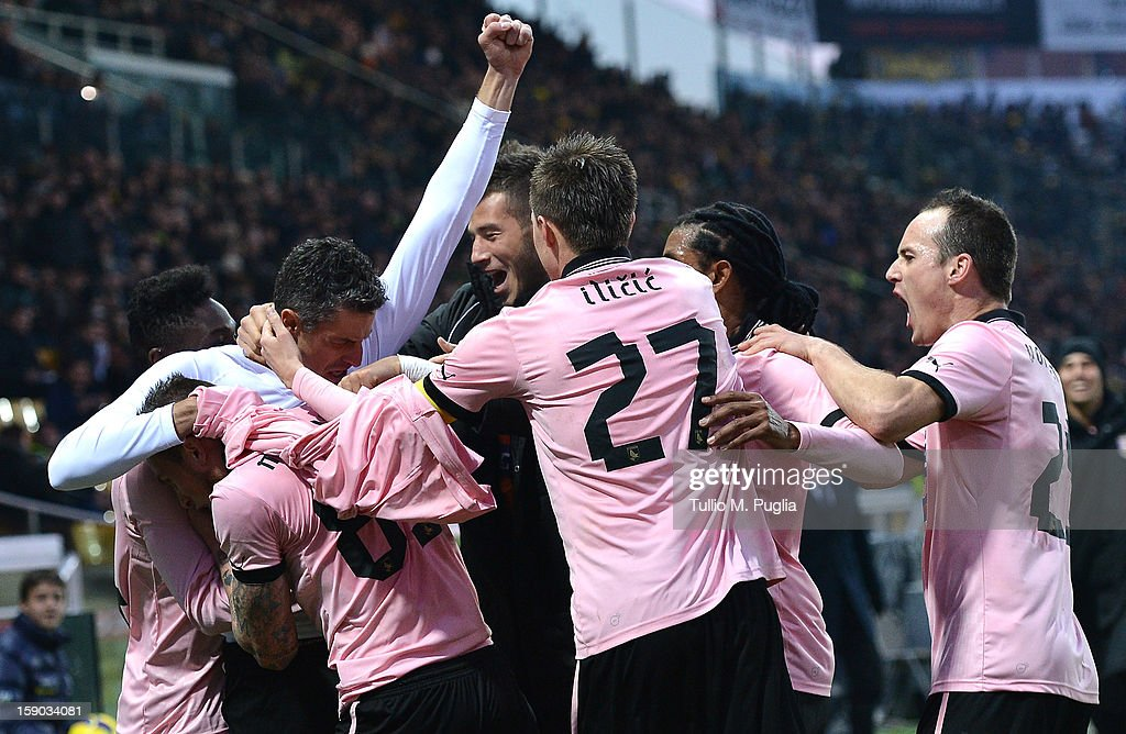 <a gi-track='captionPersonalityLinkClicked' href=/galleries/search?phrase=Igor+Budan&family=editorial&specificpeople=800180 ng-click='$event.stopPropagation()'>Igor Budan</a> (3rd-L) of Palermo celebrates with team mates after scoring the equalizing goal during the Serie A match between Parma FC and US Citta di Palermo at Stadio Ennio Tardini on January 6, 2013 in Parma, Italy.