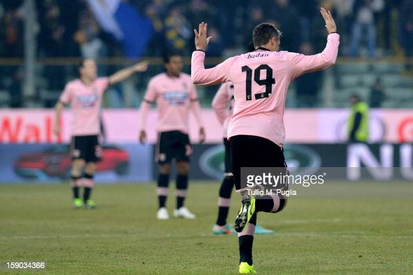 Igor Budan of Palermo n apologizes to Parma fans after scoring the equalizing goal during the Serie A match between Parma FC and US Citta di Palermo...