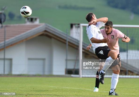 Igor Budan of Palermo scores a goal during the preseason friendly match between US Citta di Palermo and FFA 74/75 on August 1 2012 in Malles Venosta...