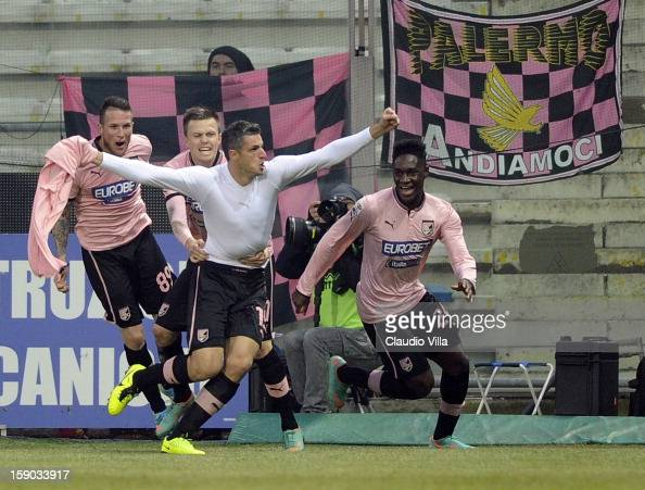 Igor Budan of US Citta di Palermo celebrates scoring the first goal during the Serie A match between Parma FC and US Citta di Palermo at Stadio Ennio...