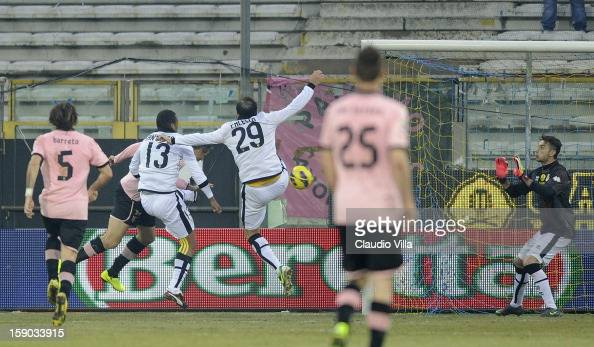 Igor Budan of US Citta di Palermo scores the first goal during the Serie A match between Parma FC and US Citta di Palermo at Stadio Ennio Tardini on...
