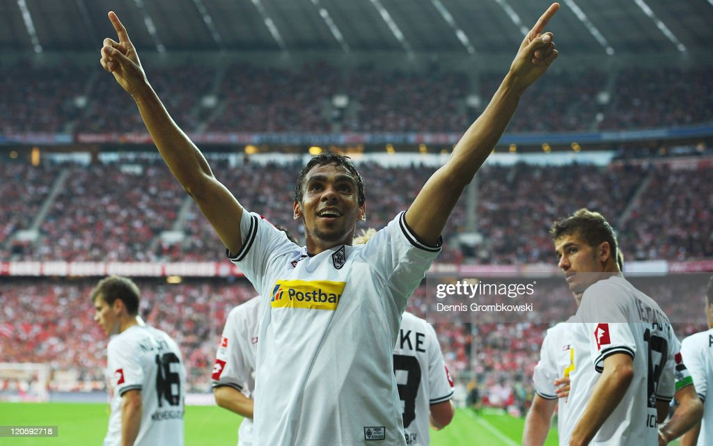 <a gi-track='captionPersonalityLinkClicked' href=/galleries/search?phrase=Igor+de+Camargo&family=editorial&specificpeople=2514599 ng-click='$event.stopPropagation()'>Igor de Camargo</a> celebrates after scoring his team´s opening goal during the Bundesliga match between FC Bayern Muenchen and Borussia Moenchengladbach at Allianz Arena on August 7, 2011 in Munich, Germany.