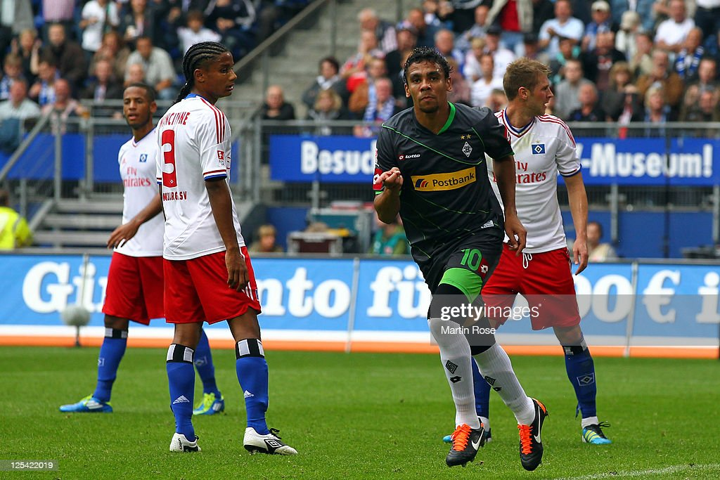 <a gi-track='captionPersonalityLinkClicked' href=/galleries/search?phrase=Igor+de+Camargo&family=editorial&specificpeople=2514599 ng-click='$event.stopPropagation()'>Igor de Camargo</a> of Gladbach celebrates after he heads his team's opening goal during the Bundesliga match between Hamburger SV and Borussia Moenchengladbach at Imtech Arena on September 17, 2011 in Hamburg, Germany. (Photo by Martin Rose/Bongarts/GettyImages).
