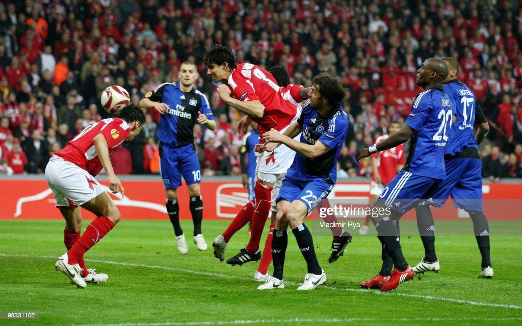 Igor de Camargo of Liege scores his team's first goal during the UEFA Europa League quarter final second leg match between Standard Liege and...