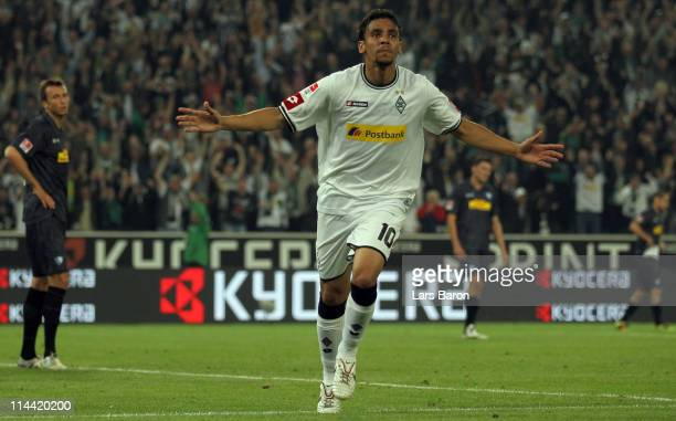 Igor de Camargo of Moenchengladbach celebrates after scoring his teams winning goal during the Bundesliga play off first leg match between Borussia...